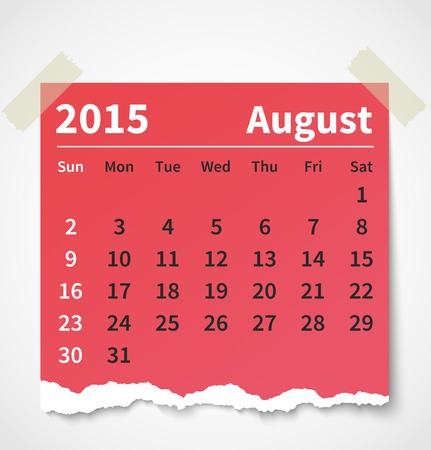 Calendar august 2015 colorful torn paper.  Vector
