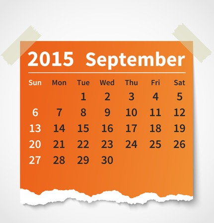 september calendar: Calendar september 2015 colorful torn paper.