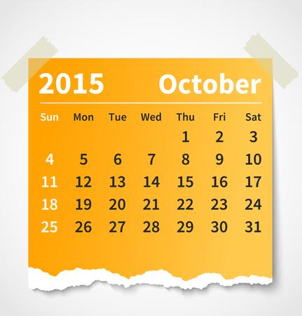 kalender oktober: Kalender oktober 2015 kleurrijke gescheurd papier.