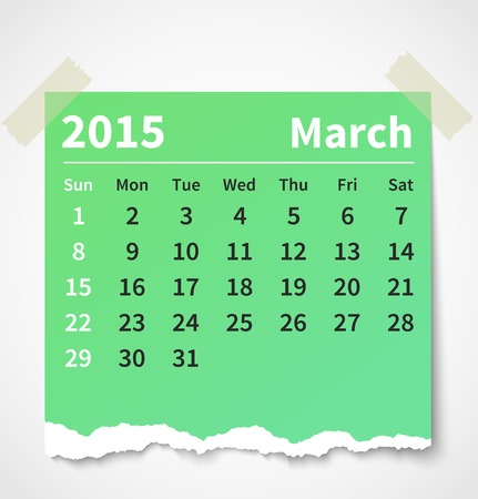 Calendar march 2015 colorful torn paper.  Vectores