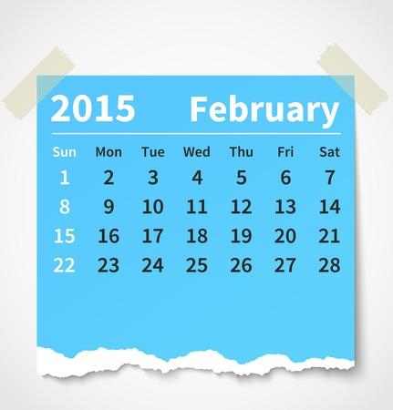 Calendar february 2015 colorful torn paper. Ilustração