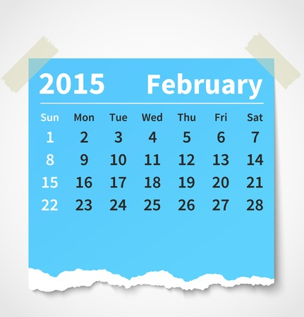 Calendar february 2015 colorful torn paper. Vector