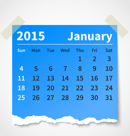 Calendar january 2015 colorful torn paper. Vector