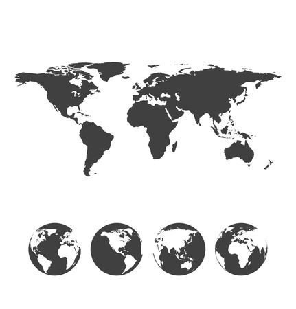 flat earth: Gray map of the world with globe icons. Vector illustration