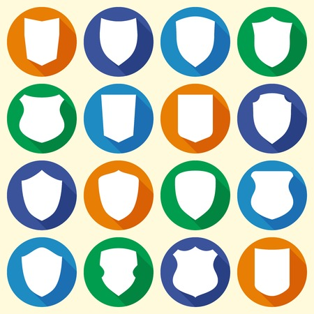 honor guard: Set of colorful different shield shapes icons in flat style with long shadow. Vector illustration