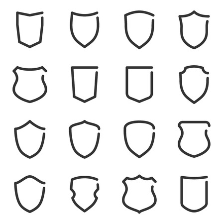 Set of different shield outline icons. Vector illustration