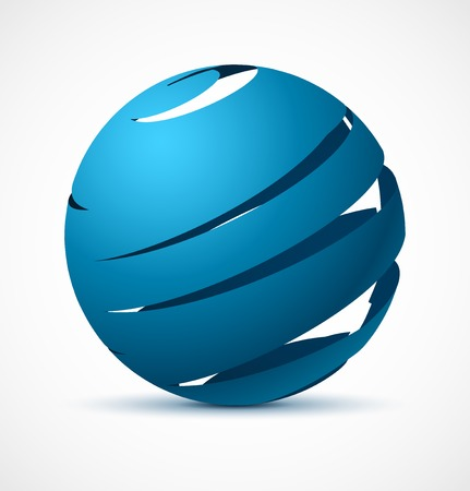 Abstract blue sphere with realistic shadow. Vector illustration. Vector