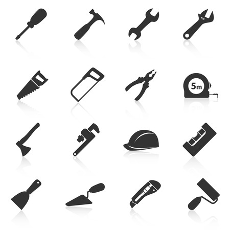 Set of construction tools icons. Vector illustration Çizim
