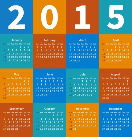 Calendar 2015 year in flat color. Vector illustration Vector