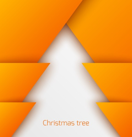 Orange abstract christmas tree paper applique. Vector illustration