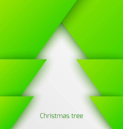 Green abstract christmas tree paper applique. Vector illustration
