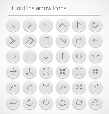 application recycle: Set of outline arrow icons on white buttons. Vector illustration
