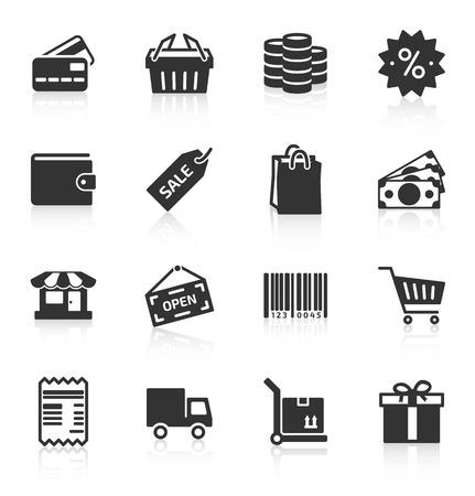 Set of gray shopping icons on white background.