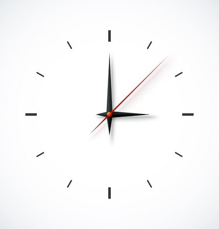 Clock face with shadow on white background.  Illustration