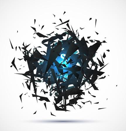 Blue light explosion of black particles on white background.   Ilustração