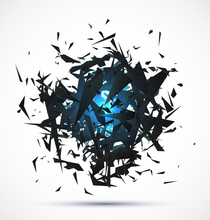 bomb explosion: Blue light explosion of black particles on white background.   Illustration