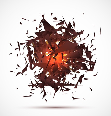 Red light explosion of black particles on white background. Vector illustration Vector