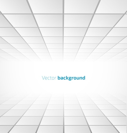 Abstract white tiled background with a perspective. Vector illustration Imagens - 34006651