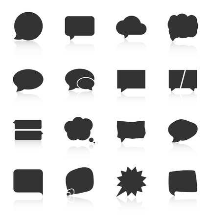 message box: Set of speech bubble icons on white background. Vector illustration