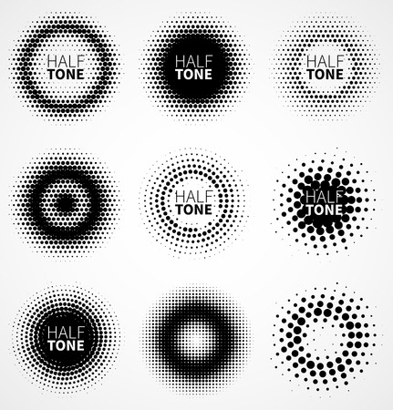 Set of abstract halftone design elements. Vector illustration Vectores
