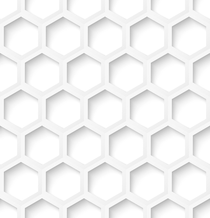 White paper hexagon abstract seamless pattern background with shadow. Vector illustration Vector