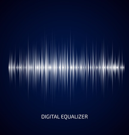 Abstract white music equalizer on dark blue background. Vector illustration Çizim