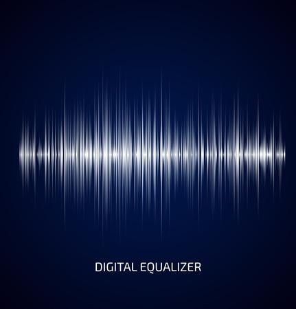 and sound: Ecualizador de m�sica abstracta blanco sobre fondo azul oscuro. Ilustraci�n vectorial