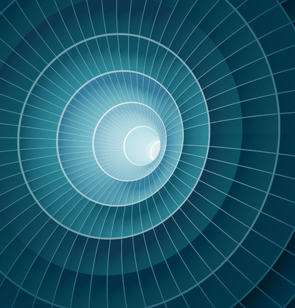 Abstract 3d blue spiral tunnel. Vector illustration