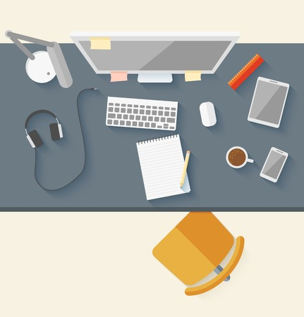 office phone: Concept of modern business workspace in flat design. Vector illustration
