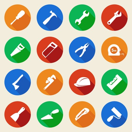 Set of construction tools icons in flat style. Vector illustration Vectores