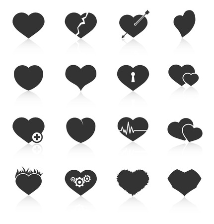 heart white: Set of different abstract heart icons. Vector illustration Illustration