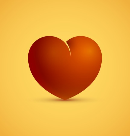 lustrous: 3d icon of red heart, love and valentine day concept. Vector illustration
