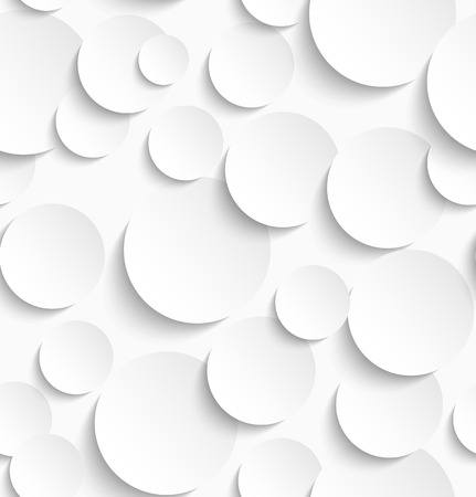 Seamless pattern of white circles with drop shadows. Vector illustration