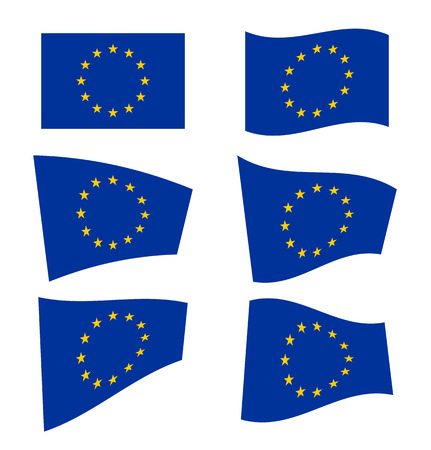 Set of flags of the European Union on white background. Vector illustration Vector
