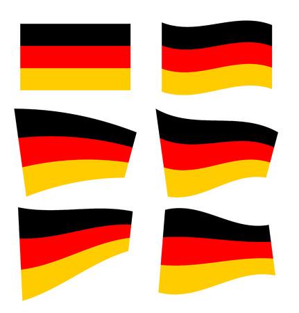 deutsch: Set of german flags on white background. Vector illustration