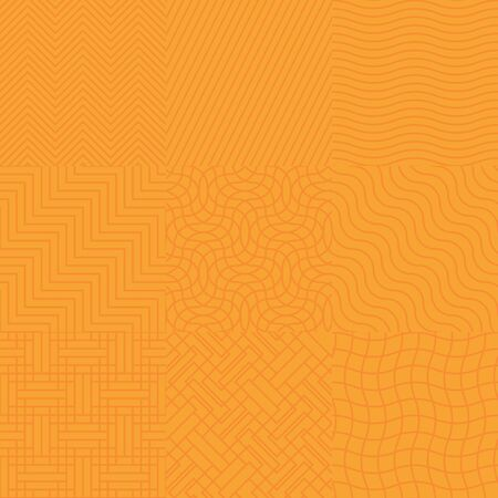 yelow: Set of seamless abstract orange geometric pattern background. Vector illustration.
