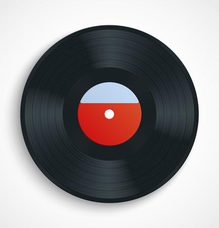 vinyl disk player: Black vinyl record album disc with blank red label. Vector illustration
