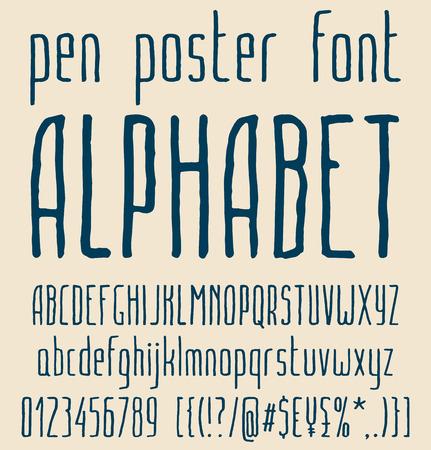 sans serif: Sans-serif hand-drawn elegant pen poster minimal font, alphabet letters design, uppercase and lowercase letters, numbers and symbols. Vector illustration Illustration