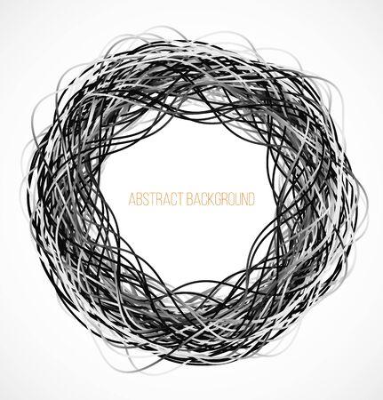 absract: Absract background cerchio nero con linee. Illustrazione vettoriale