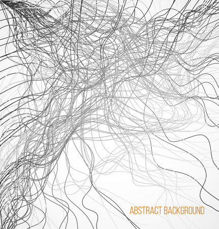 endlessly: Absract background with black chaotic lines. Vector illustration