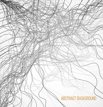 absract: Sfondo Absract con linee caotiche nere. Illustrazione vettoriale