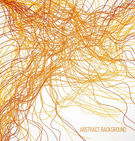 absract: Absract orange bright background with chaotic lines. Vector illustration