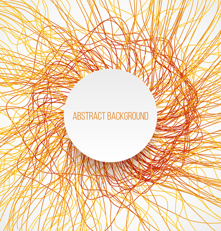 absract: Absract orange bright background with lines and white banner with shadow. Vector illustration