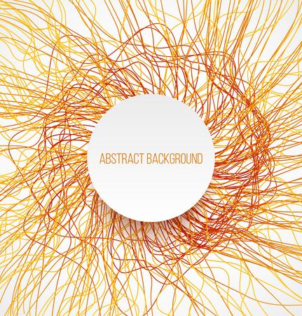 absract: Absract sfondo luminoso arancione con linee e bandiera bianca con ombra. Illustrazione vettoriale