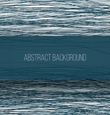 Abstract blue chaotic sketch lines background and rectangle banner with shadow. Vector illustrtion Vector