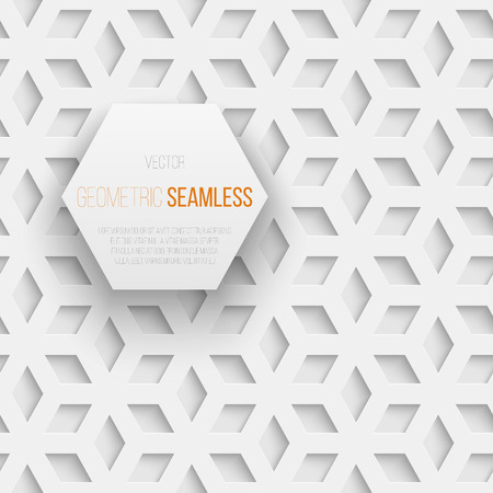 seamless tile: Abstract white seamless geometric cube pattern with shadow. Vector illustration