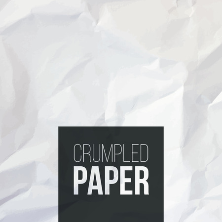 Texture of white crumpled paper background. Vector illustration