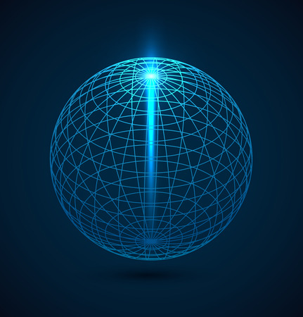 digital illustration: Abstract blue outline globe sphere background with ray of lihgt. Vector illustration