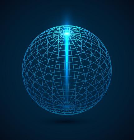 Abstraktní modré obrys zeměkoule koule pozadí s paprsek lihgt. Vektorové ilustrace