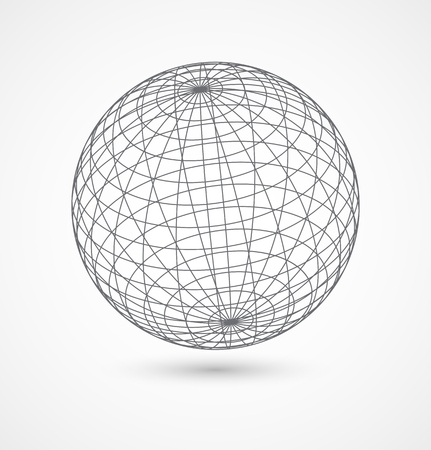 Abstract globe sphere from gray lines on white background. Vector illustration
